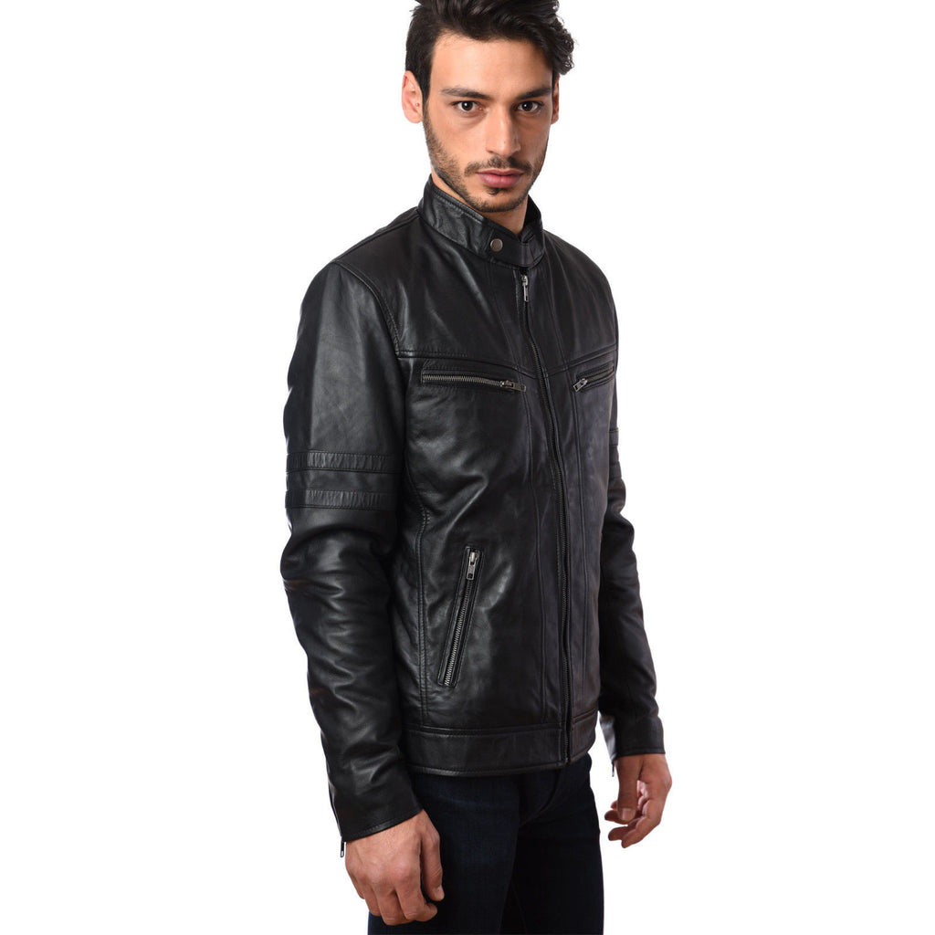 Mens Bikers Fashion Motorcycle Riders Real Leather Jacket in Lamb Skin GBW-5002