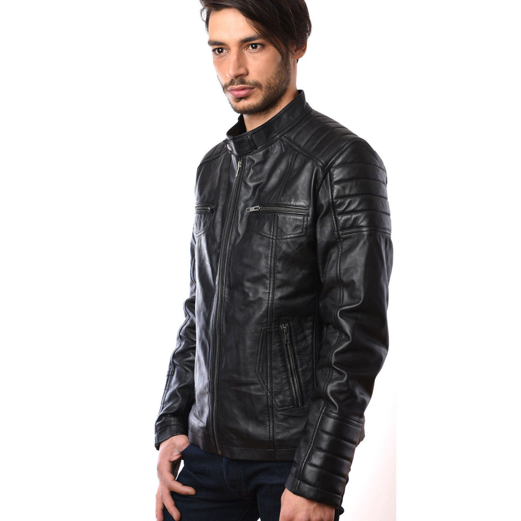 Mens Fashion Bikers Motorcycle Riders Real Leather Jacket in Lamb Skin GBW-5001