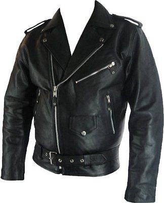 Brando Men's Classic Biker Leather Jacket
