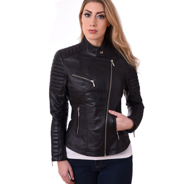 Ladies Women Bikers Style Real  Lamb Skin Leather Jacket Gbr 1016