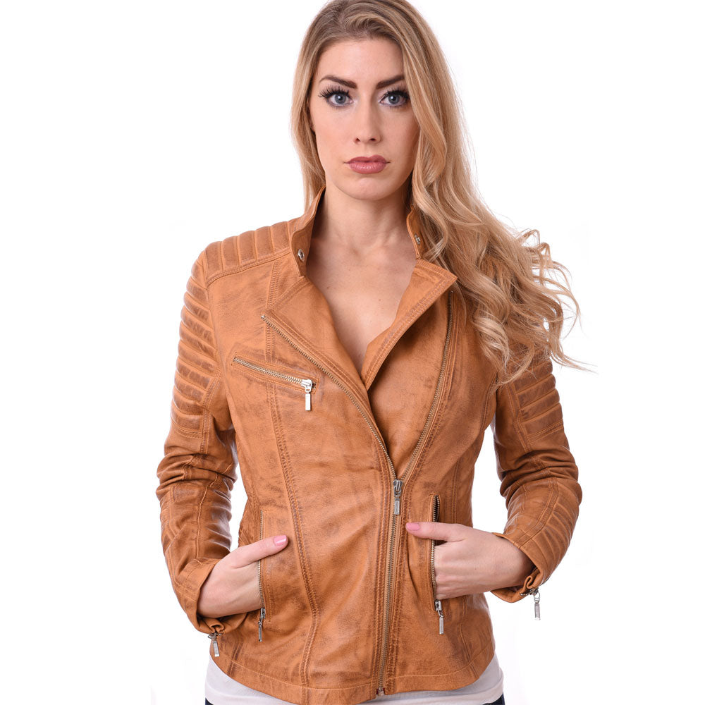Leather Biker Style Soft Sheep Nappa Leather Jacket