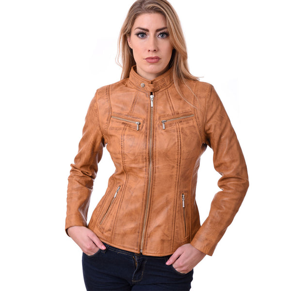 Biker Style Ladies Soft Sheep Nappa 100% Genuine Leather Jacket Tan