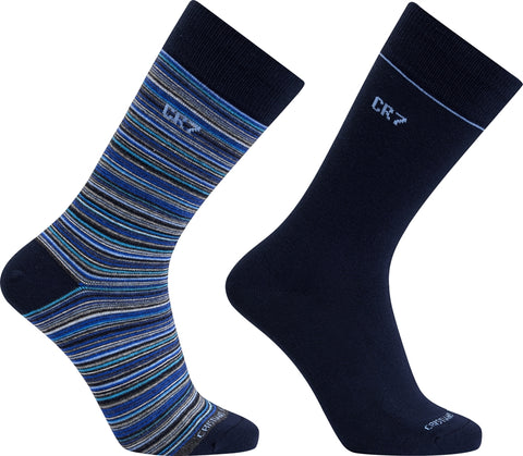 CR7 Men's 2 Pack Fashion Socks Navy/Blue Stripe