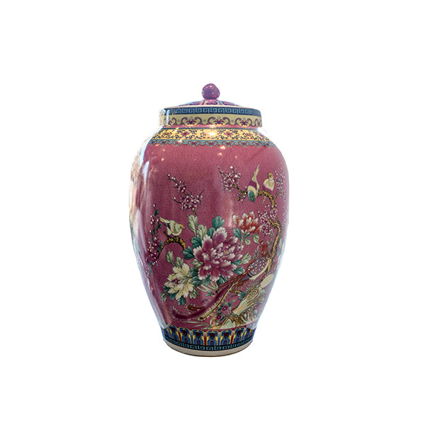 PINK JAR WITH BIRDS