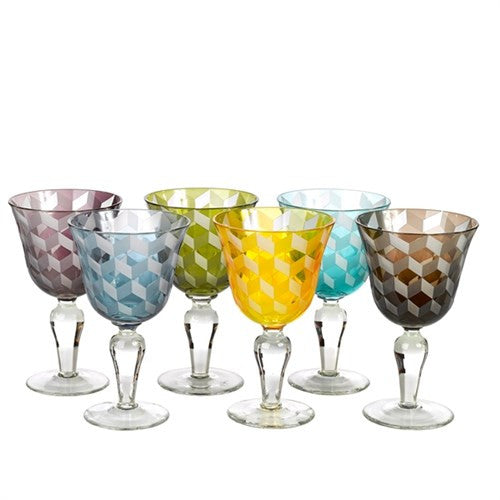 WINE GLASS BLOCKS MULTICOLOR SET6