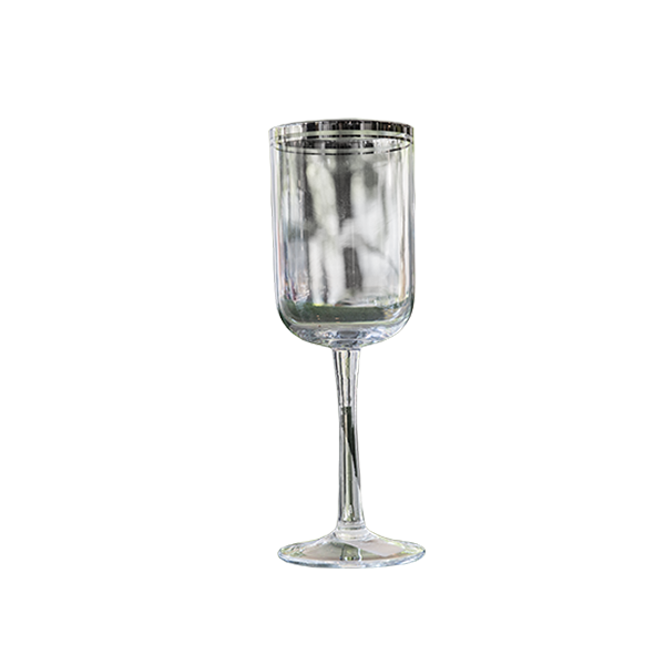 RED WINE GLASSES  SILVER LINE - Fine Bone Luxury Living