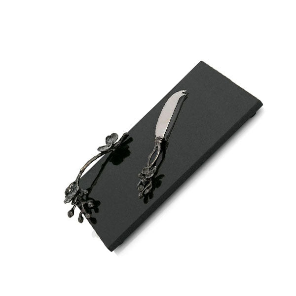 BLACK ORCHID CHEESE BOARD & KNIFE Small - Fine Bone Luxury Living