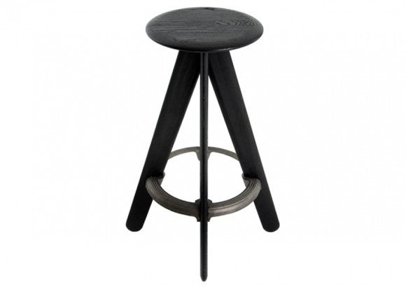 SLAB BAR STOOL BLACK - Fine Bone Luxury Living
