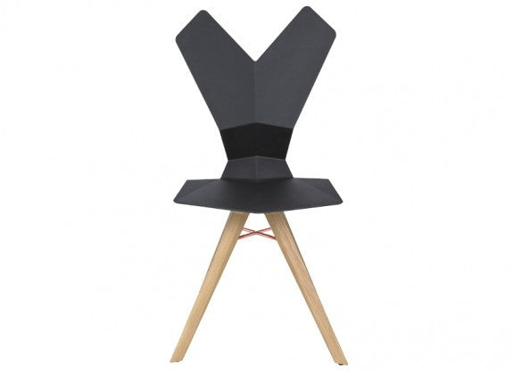Y CHAIR BLACK SHELL NATURAL OAK BASE