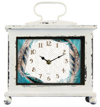 Clock Mantle Blue Feather - Rustic Vintage Charm