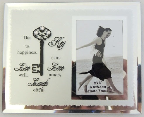 Key To Happiness Photo Frame - Rustic Vintage Charm