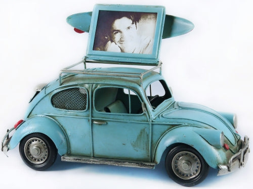 VW Beetle Money Box and Photo Frame - Rustic Vintage Charm