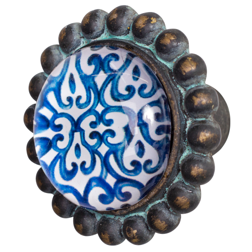 Door Knob Pewter Blue and White - Rustic Vintage Charm