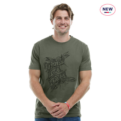 Help for Heroes Clover Green Old School Tattoo T-Shirt