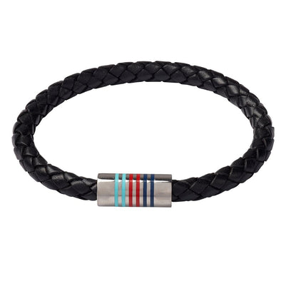 Help for Heroes Black Tri Leather Bracelet