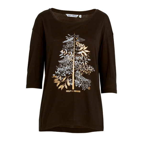 Help for Heroes Black Festive Tree T-Shirt