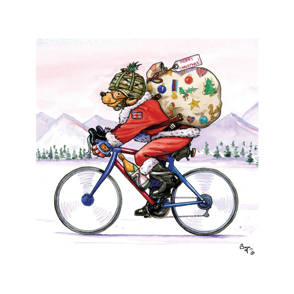 Christmas Santa Bear on a bike Christmas Card