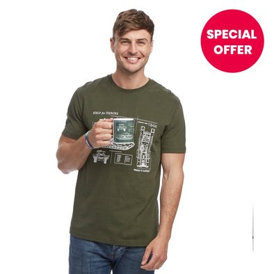 Help for Heroes Combat Green Churchill Mug and T-Shirt Set