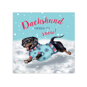 Dachshund Through The Snow Christmas Cards - pack of 10