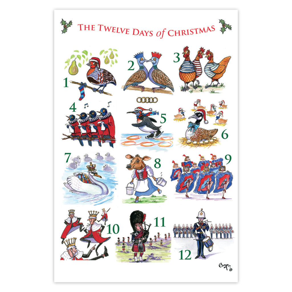 12 Days Of Christmas.Bryn Parry 12 Days Of Christmas Pack Of 10