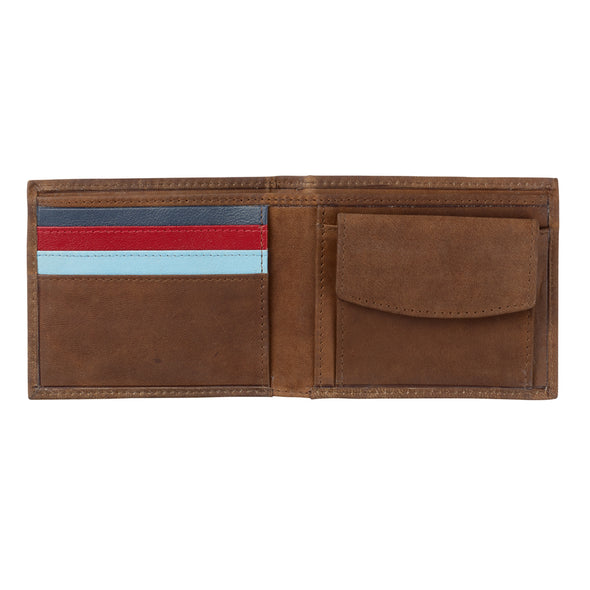 Help for Heroes Brown Leather Bifold Wallet with Crest