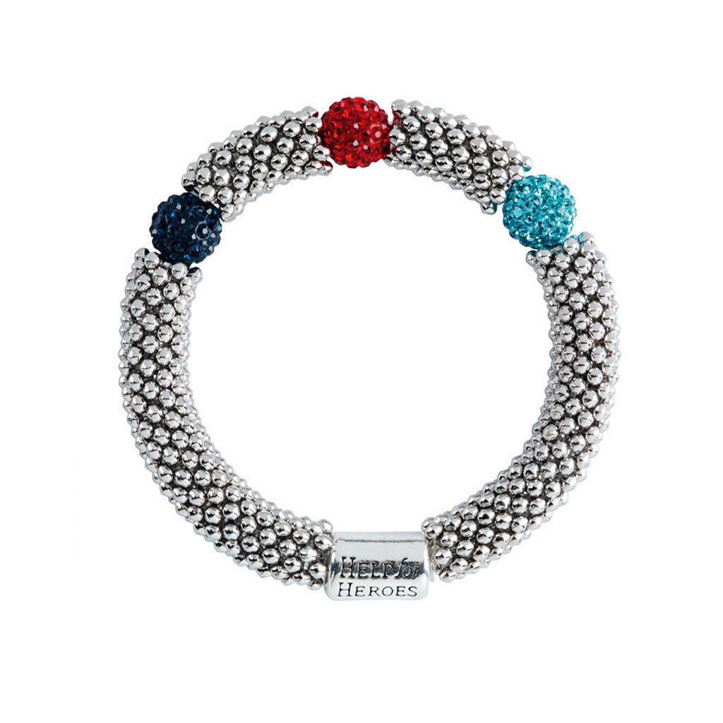 Help for Heroes Tri-Colour Elasticated Bead Bracelet