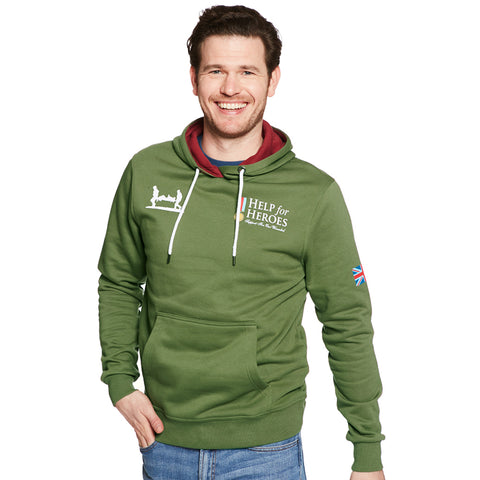 Help for Heroes Classic Clover Green Hoody with Flag