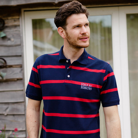 Help for Heroes Navy and Apple Red Striped Colchester Polo Shirt