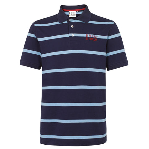 Help for Heroes Navy and Dusk Blue Striped Colchester Polo Shirt