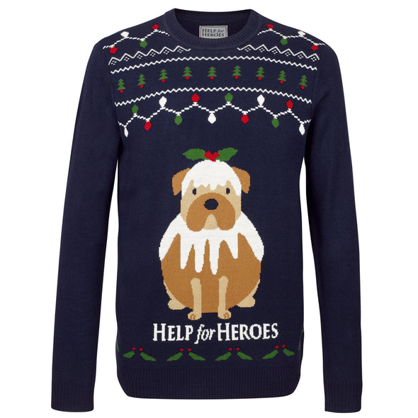 Help for Heroes Dog Christmas Pudding Jumper