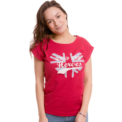 Help for Heroes Raspberry Wine Glitter Heart T-shirt