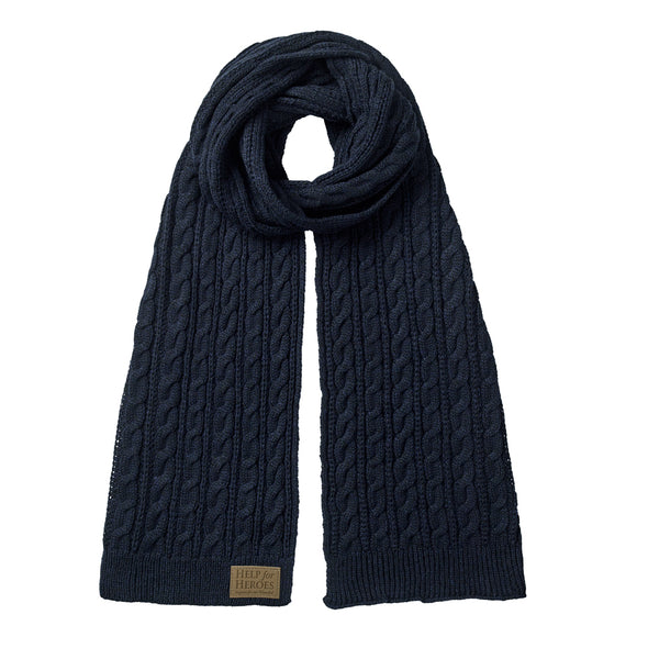 Blue Marl Donard Cable Knit Scarf