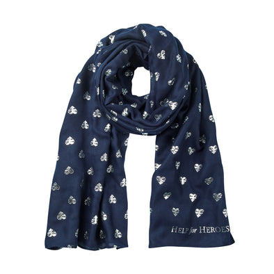 Help for Heroes Navy Heart Print Scarf