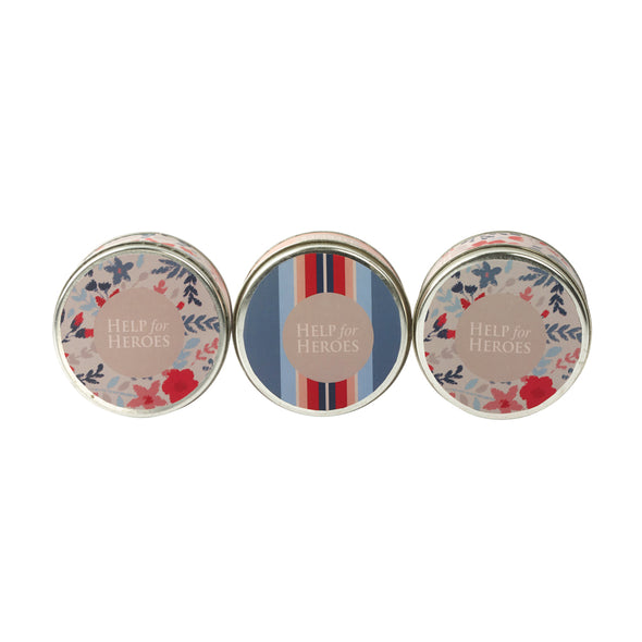 Help for Heroes Floral Tinned Candles - Set of 3