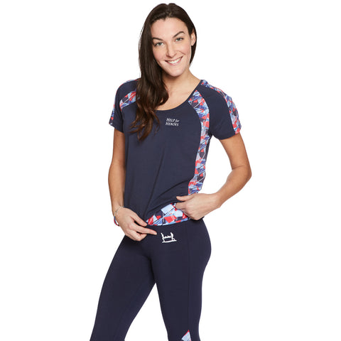 Help for Heroes Navy Tile Print Capri Leggings