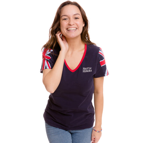 Help for Heroes Navy V-neck Unity T-shirt