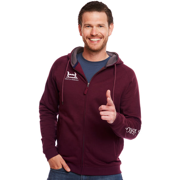 Windsor Wine Catterick Raglan Zipped Hoody