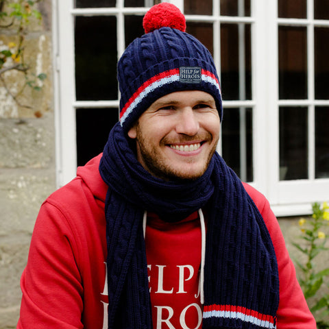 Help for Heroes Navy Cable Knit Pompom Hat