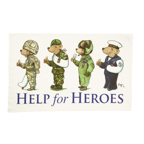 Help for Heroes White 4 Bears Tea Towel
