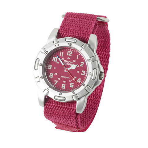 Help for Heroes Pink Canvas Strap Watch