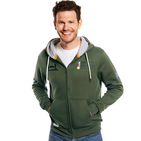 Help for Heroes Military green zipped hoody