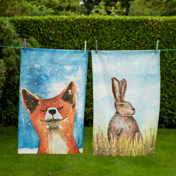 Help for Heroes Fox and Hare Tea Towel Set