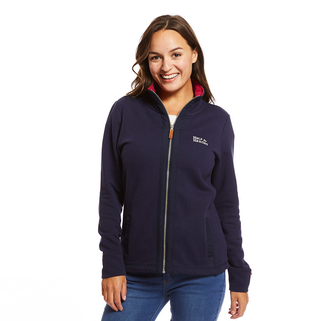 Ladies zipped navy sweatshirt