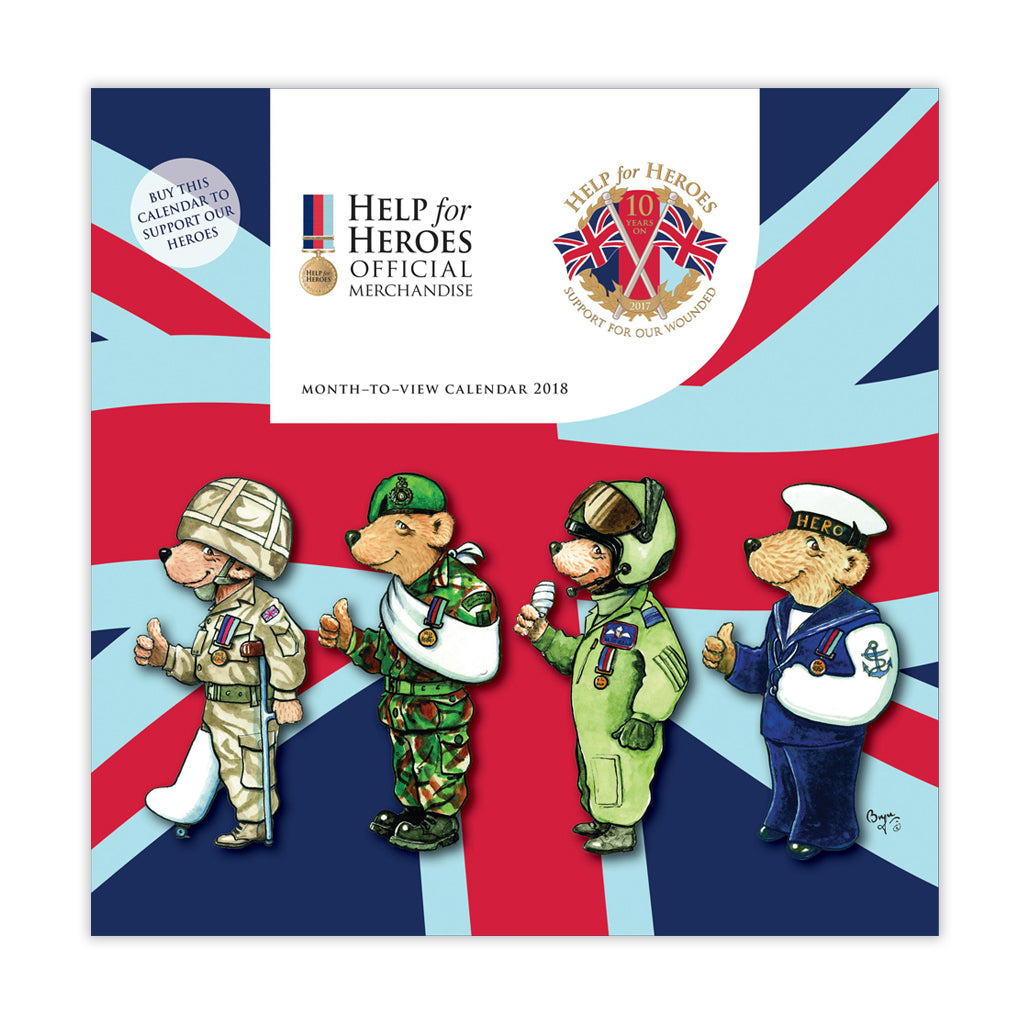 Help for Heroes 2018 Month to View Bear Calendar