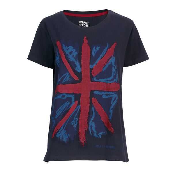 Help for Heroes Navy Patriotic Flag T-Shirt