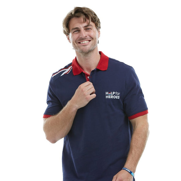 Help for Heroes Navy Patriotic Union Jack Polo