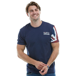 Help for Heroes Navy Union Jack Sleeve Patriotic T-Shirt