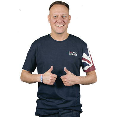 Navy Union Jack Sleeve Patriotic T-Shirt