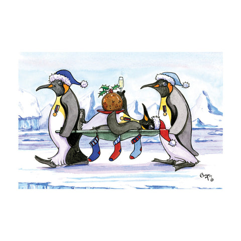 Stretcher bearer penguin Bryn Parry Christmas Card
