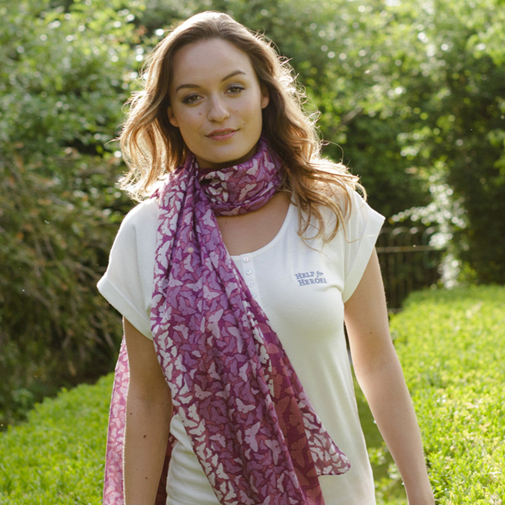 Help for Heroes pink butterfly scarf